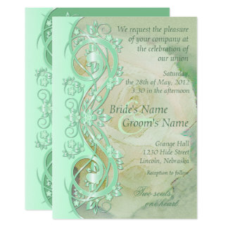 Elegant Scroll Wedding Invitation - Mint Green 3