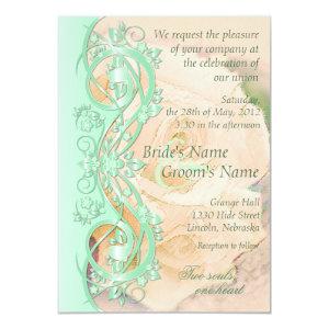 Elegant Scroll Wedding Invitation-Mint Green Peach 5