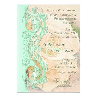 "Elegant Scroll Wedding Invitation-Mint Green Peach 5"" X 7"" Invitation Card"