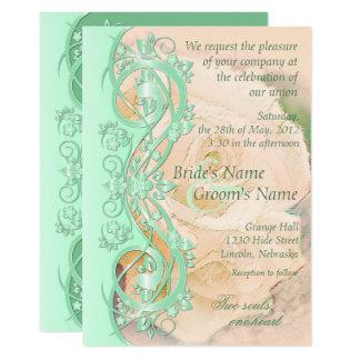 Elegant Scroll Wedding Invitation-Mint Green Peach Card