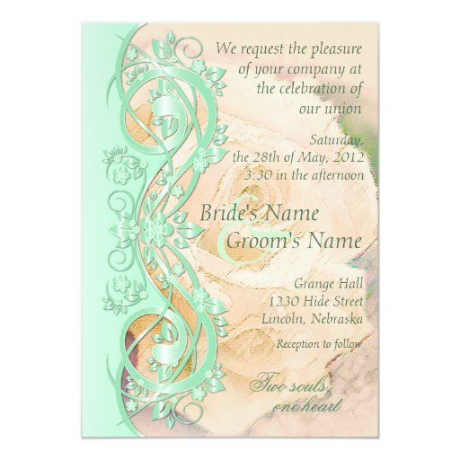 Elegant Scroll Wedding Invitation Mint Green Peach Card
