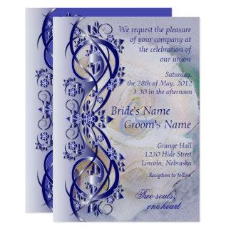 Elegant Scroll Wedding Invitation - Navy Blue 3