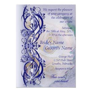 Elegant Scroll Wedding Invitation - Navy Blue 3 5