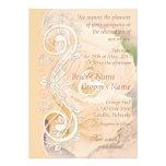 Elegant Scroll Wedding Invitation - Peach - 1