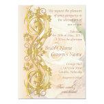 """Elegant Scroll Wedding Invitation - Peach & Gold 5"""" X 7"""" Invitation Card"""