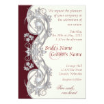 """Elegant Scroll Wedding Invitation - Silver - 1 5"""" X 7"""" Invitation Card"""