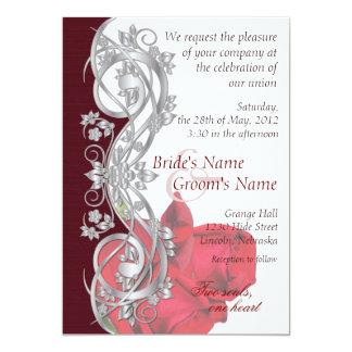 """Elegant Scroll Wedding Invitation - Silver & Rose 5"""" X 7"""" Invitation Card"""
