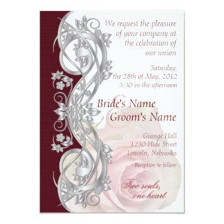 Elegant Scroll Wedding Invitation - Silver & Rose