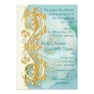 Elegant Scroll Wedding Invitation - Teal 4