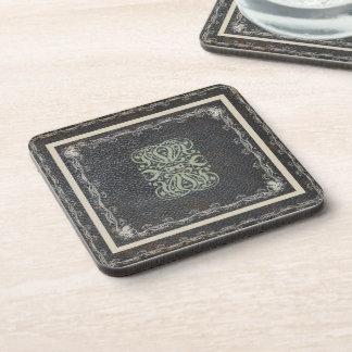 Elegant Scroll Work on Leather Texture Coaster