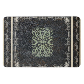 Elegant Scroll Work on Leather Texture Magnet
