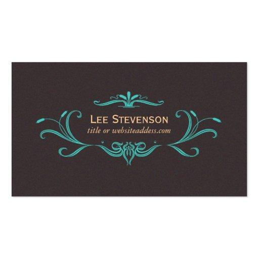 Elegant Scrolls Dark Brown Business Card