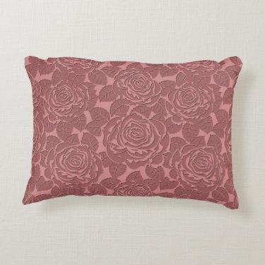 Elegant Sculpted Pink Roses Accent Pillow