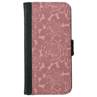 Elegant Sculpted Pink Roses Wallet Phone Case For iPhone 6/6s