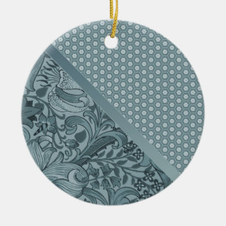 Elegant Sea Foam Floral Geometric Tiled Pattern Ceramic Ornament