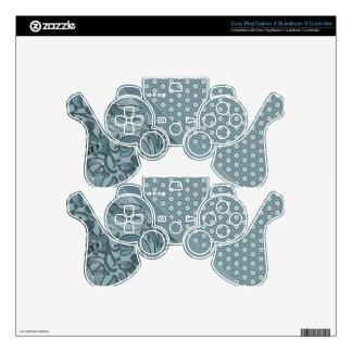 Elegant Sea Foam Floral Geometric Tiled Pattern Skins For PS3 Controllers