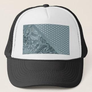 Elegant Sea Foam Floral Geometric Tiled Pattern Trucker Hat