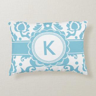 Elegant Sea Green Aqua Damask Decorative Pillow