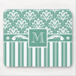 Elegant Sea Green Damask with Your Monogram Mouse Pads