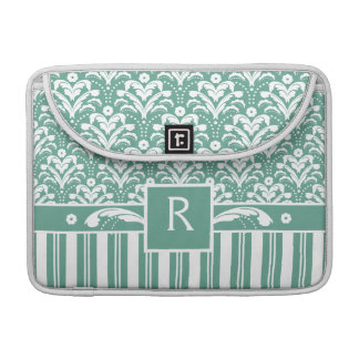 Elegant Sea Green Damask with Your Monogram Sleeve For MacBooks