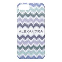 Elegant Sea Greens and Blues Chevron ZigZag Waves iPhone 7 Case