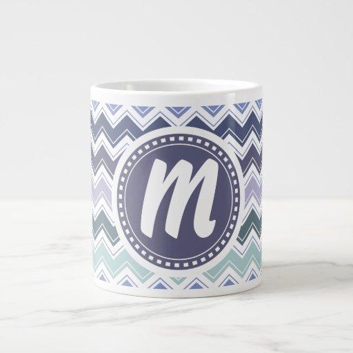Elegant Sea Greens and Blues Chevron ZigZag Waves Large Coffee Mug
