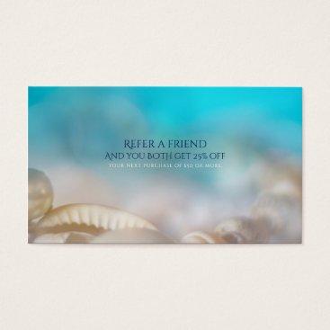 Beach Themed Elegant Sea Shells Blue Beach Refer a Friend Business Card
