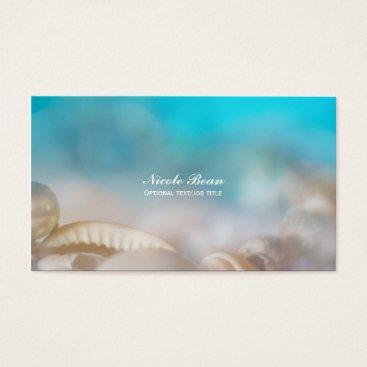 Beach Themed Elegant Sea Shells Blue Tropical Beach Business Card