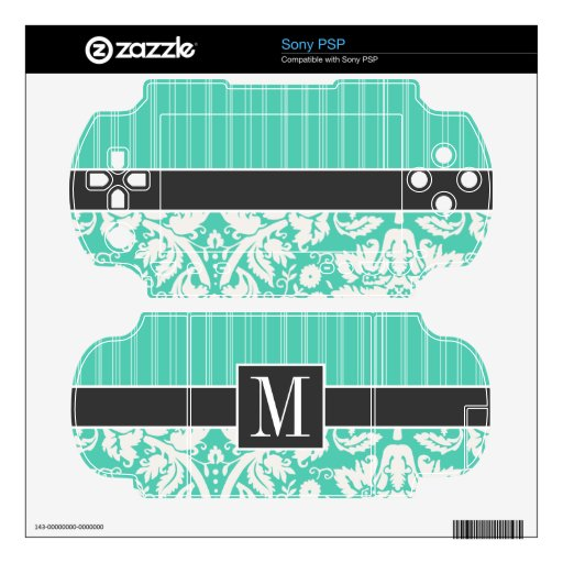 Elegant Seafoam Green Damask Decal For The Sony PSP