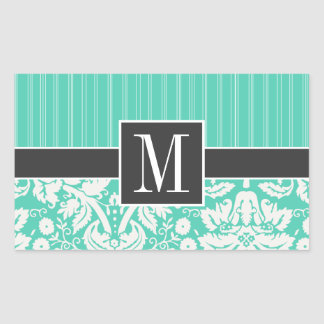 Elegant Seafoam Green Damask Rectangular Sticker