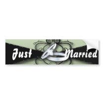 elegant seafoam green mint and black wedding bumper sticker