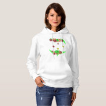 Elegant seamless pattern of flowers on a white bac hoodie