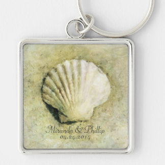 Elegant Seashell Beach Wedding Keepsake Keychain