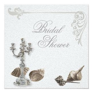 Elegant Seashell Vintage Bridal Shower Invitation