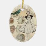 elegant seashell Vintage Paris Lady Fashion Double-Sided Oval Ceramic Christmas Ornament