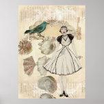 elegant seashell Vintage Paris Lady Fashion Poster