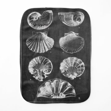 Beach Themed elegant seashells beach art vintage chalkboard baby burp cloth