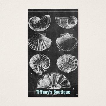 Beach Themed elegant seashells beach art vintage chalkboard business card