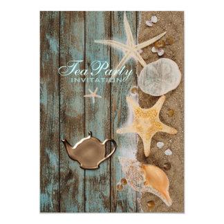 elegant seashells beach bridal shower tea party card