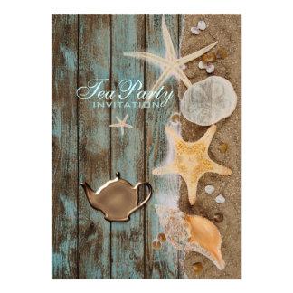 elegant seashells beach bridal shower tea party personalized announcement