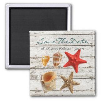 elegant  seashells beach wedding save the date magnet