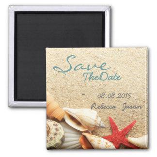 elegant  seashells beach wedding save the date magnets