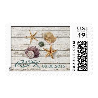 elegant seashells beach wedding save the date stamp
