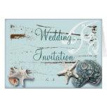 Elegant Seashells Beach Wedding Stationery Card
