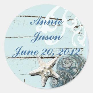 Elegant Seashells Beach Wedding Stationery Classic Round Sticker
