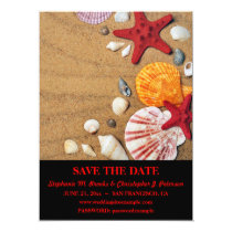 Elegant Seashells on Sand Save the Date / Website Card