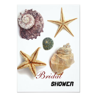 Elegant seashells shabby beach bridal shower card
