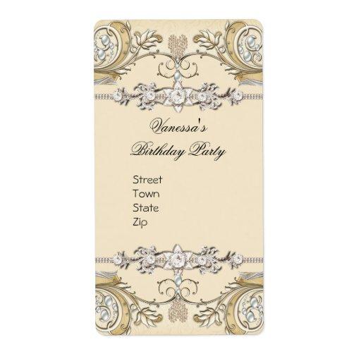 Elegant Sepia Coffee Gold Flat Personalized Shipping Label