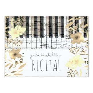 elegant sepia watercolor flowers music recital card