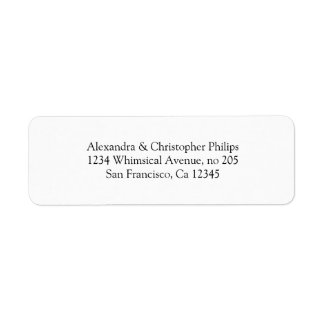 Elegant Serif Simple Return Address DYI Labels